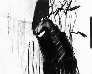 Anna Rudolf - z.t. inkt en houtskool op papier 24 x 30 cm
